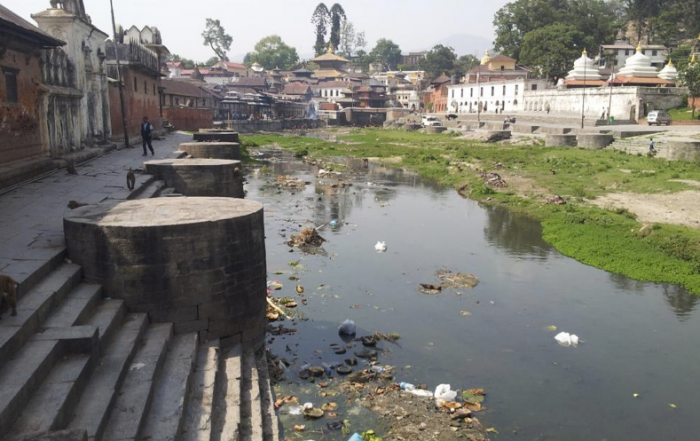 Bagmati River filled with rubbish