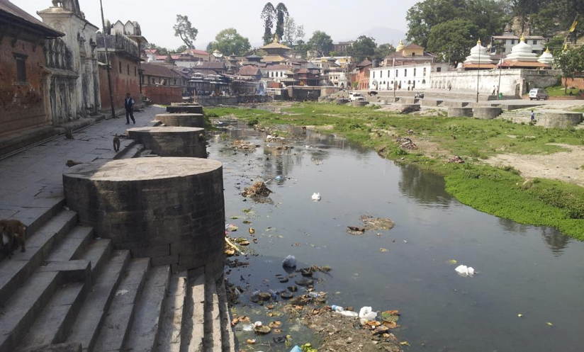 Bagmati River filled with rubbish